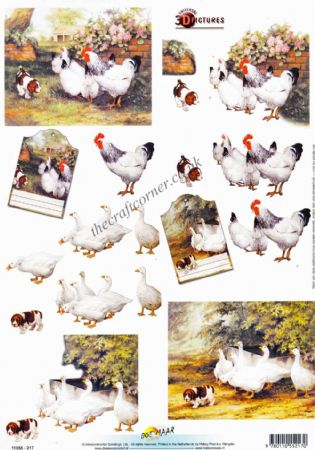 Chicken, Ducks & A Little Dog 3d Decoupage Craft Sheet